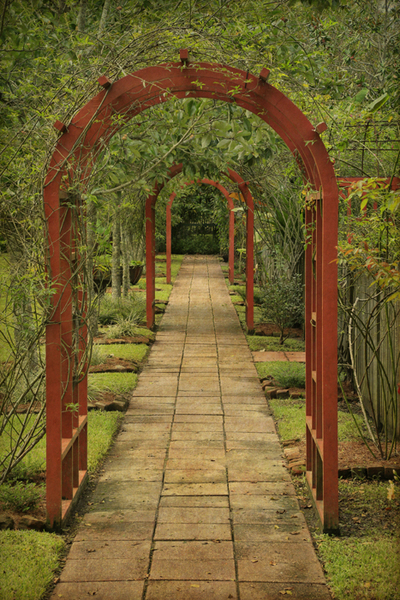 Arbor arches and brick walkway