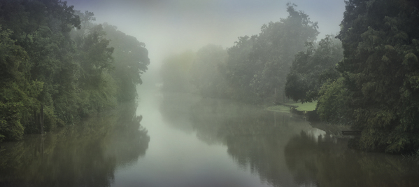 Morning fog on Bayou Lafourche, Laurel Valley Bridge